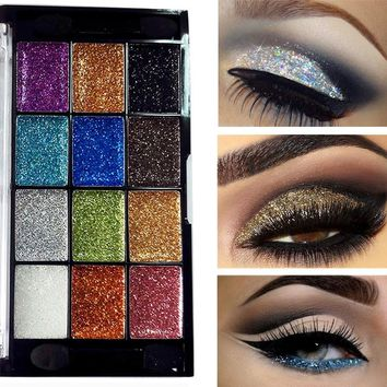 New 12 Colors Glitter Eye Shadows Makeup Palette Waterproof Pigment Gold Silver Black Smoky Shiny Glitter Eyeshadow