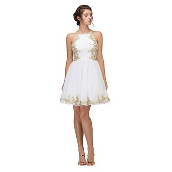 Ivory Homecoming Short Dress with Gold Appliques