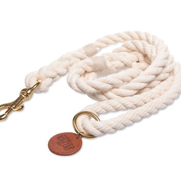 Natural White Dog Leash - Cream Hemp Twine
