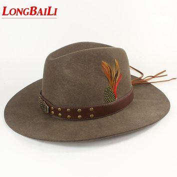d4e53a31979d5 Winter Quality Feather Mens Wool Felt Cowboy Hats With Leather B