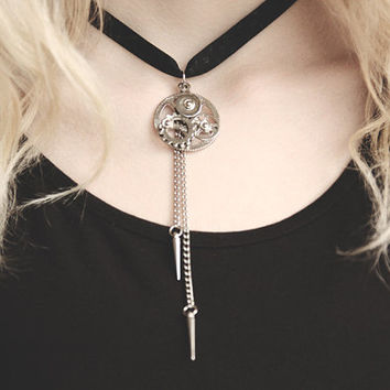Steampunk Clock Gear Necklace with Spikes