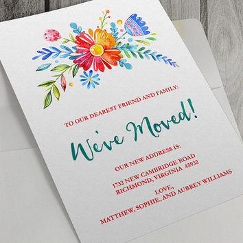 Printable We've Moved Announcement, 5x7 Inch, Personalize, New Home, New Address, Flowers, Instant Download, Watercolor Floral Bouquet
