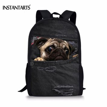 INSTANTARTS Kids Shool Bags for Teenagers Boys 3D Cute Animal Demin Dog Cat Print Book Shoulder Bags Casual Children Backpacks