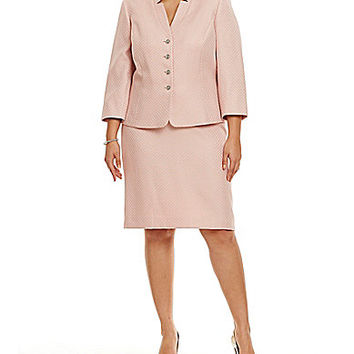 Tahari by ASL Plus Textured Skirt Suit - Malibu Pink