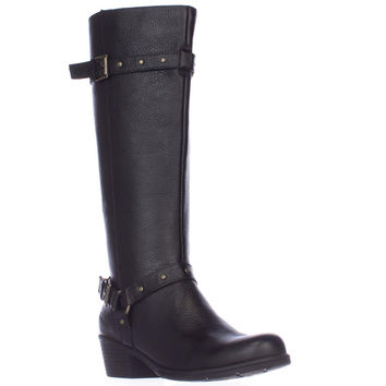Born Cam Studded Strap Riding Boots - Black