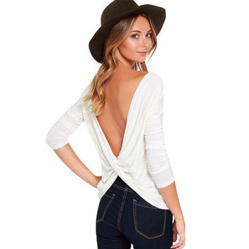 2017 Summer Cross Backless Long sleeved T-shirt Women Tops Casual Large size Camiseta mujer White/Black/Gray poleras de mujer