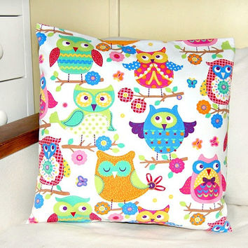 children's decorative pillow cover 16 inch, owls pink green blue yellow cushion cover