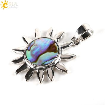 Paua Abalone Shell Beads Sunflower Pendant Necklace for Women