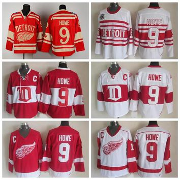 Throwback Detroit Red Wings Gordie Howe Jersey #9 CCM Vintage 75th Winter Classic Hockey Jerseys Alumni Gordie Howe Jersey Stitched C Patch