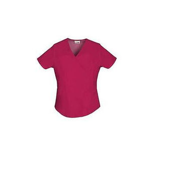 ScrubStar Women's Essentials Mock Wrap Scrub Top, XLarge, Classic Red, 90003