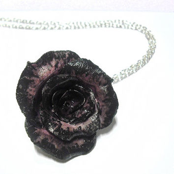 Rose necklace in black and violet handmade in cold porcelain and hand painted