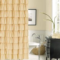 Flamenco Tiered Fabric Shower Curtain 70 X 72
