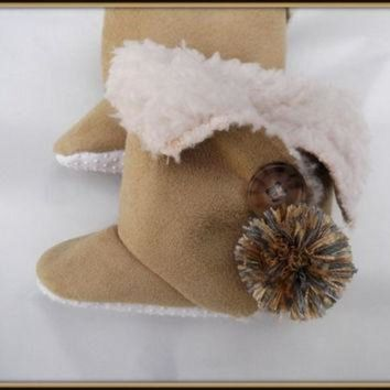 CREY1O Toddler Baby Ugg Style Boots Children's Trendy Booties Faux Suede Sherpa
