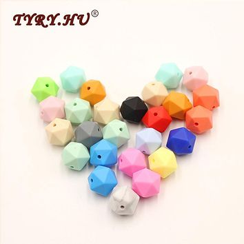 TYRY.HU Baby Teether Silicone Beads Teething Toys for DIY Babies Soother Chain Christmas Gifts Pacifier Clips Safe Feeding Tools