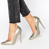 Daisy Street Iridescent Bronze Snake Effect Pointed Court Shoes
