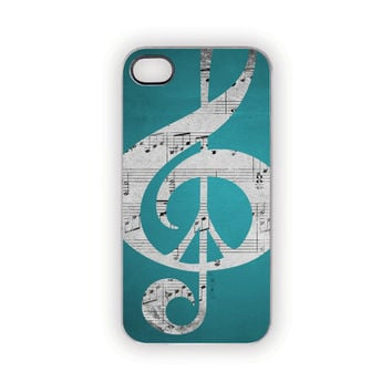 iPhone Case, 5, 4S/4, Peace Aqua Case, Music Notes, Aqua, Blue, Turquoise, Tiffany Blue, Silver, Gray, Black Music, Peace Sign