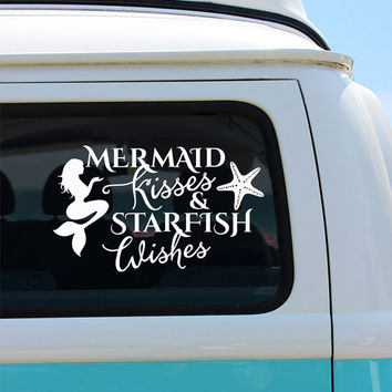 Mermaid Kisses Vinyl Window Decal - Car Sticker - Car Decal