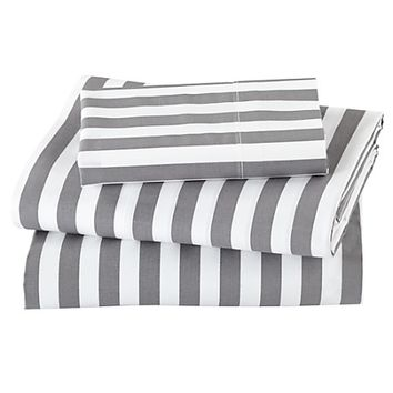 Not a Peep Toddler Sheet Set (Grey Stripe) in Toddler Bedding | The Land of Nod