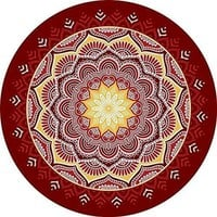 Dark Red Sunburst Brazilian Mandala Yoga Round Tapestry Towel