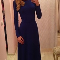 Navy Blue Long Sleeve Boat Neck V Back Bow Tie Waist Maxi Dress