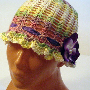 Crocheted vintage style summer sun hat, handmade children (2-3 yrs old) summer hat, handmade