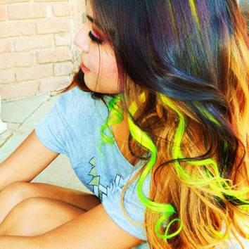 Neon Ombre Clip In Human Hair Extensions Dip Dye Tye Dye Yellow Green