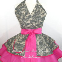 Pin Up ACU Army Wife Digital Camo Apron -you pick the accent color