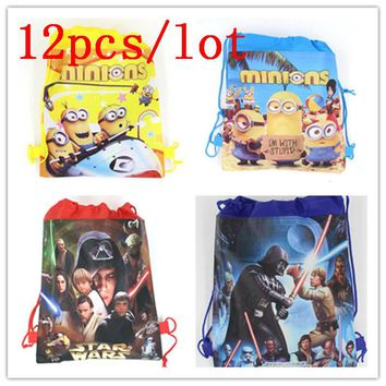 Cute Minions Cartoon Backpack Gift Bag Star Wars Theme Non-woven Fabrics Backpacks Storage Back Pack Favor School 12Pcs/lot