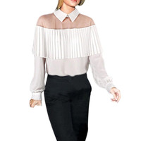 High Quality 2016 Summer Off Shoulder Cape-Style Loose Pleated White Black Tops Chiffon Blouse Shirt For Women