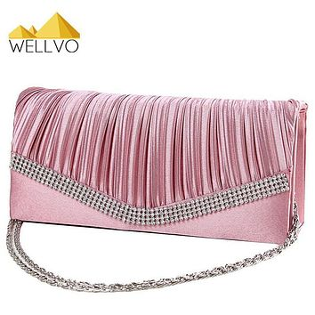 Women Satin Clutch Bag Rhinestone Evening Purse Ladies Day Clutch Chain Handbag Bridal Wedding Party Bag Bolsa Mujer 2017 XA1080