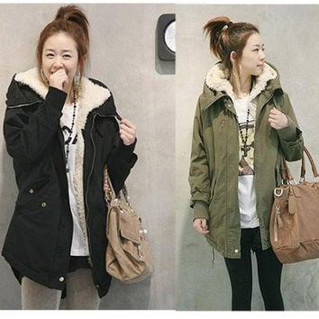 New Winter Women's Fleece Parka Warm Coat Hoodie Overcoat Long Jacket Army Green / Black = 1930399620