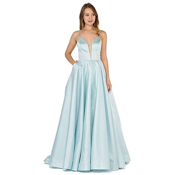 Strappy Back Long Prom Dress with Pockets Blue