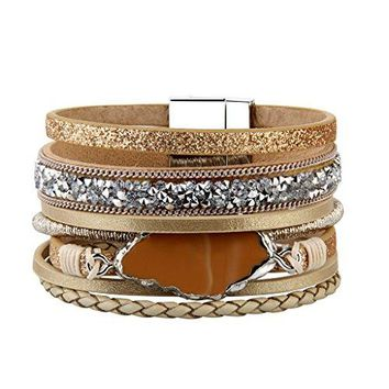 AUGUAU Handmade Braided Wrap Bracelet – Leather Cuff Bangle – Agate Stone Crystal – for Women,Girl Gift By Jenia