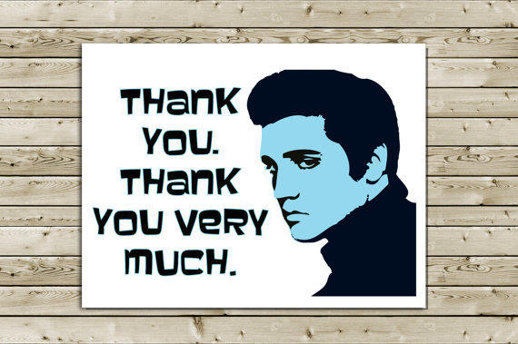 Funny Elvis Thank You Greeting Card From Aloucreations