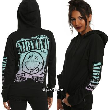 Licensed cool Licensed Nirvana LIVE Logo Ladies Black Hoodie Hoody Concert Poster JRS S-XL NWT