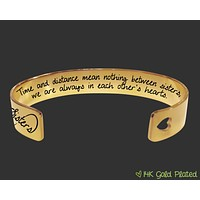 Time and Distance Personalized Gold Bracelet | Sister Gift