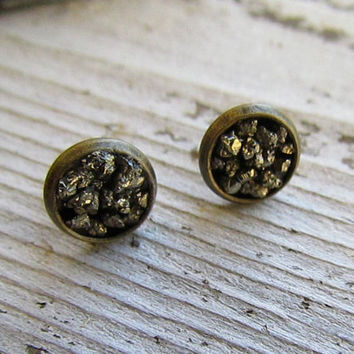 STARBRIGHT / Raw Pyrite Cluster Earrngs Fool's Gold Crystal Gemstone Studs Faux Guages, Plugs, Lead and Nickel Free, Fall, Winter 8mm