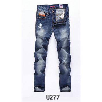 Streetwear Mens Jeans Stretch skull Ripped Design