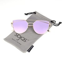 SojoS® Cat Eye Mirrored Flat Lenses Street Fashion Metal Frame Women Sunglasses SJ1001