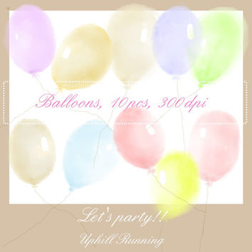 Watercolor clipart, clipart balloons in soft colors, watercolor overlays, 10xPNG + 10XJPG, 300 dpi, Instant download