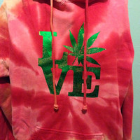 Marijuana Leaf Love Park Green and Gold Foil Red Tie Dye Hooded Sweatshirt XL