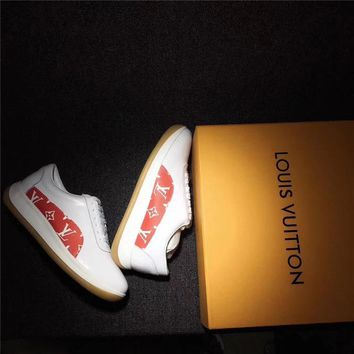 Supreme x Louis Vuitton White&Red Men and Women Sport Sneakers