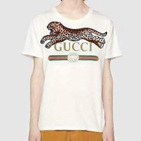 GUCCI Hot Sale Fashion Casual Leopard Letter Print Round Collar Top T-Shirt White