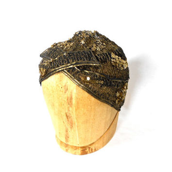 1920s Sequin Mesh Cloche Hat - Flapper Hat - Boardwalk Empire - Prohibition - Black Gold - Great Gatsby