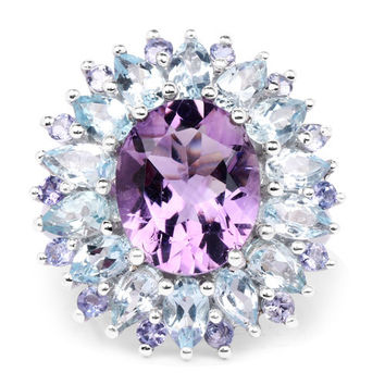 7.79 Carat Genuine Amethyst, Blue Topaz and Tanzanite Anniversary Ring
