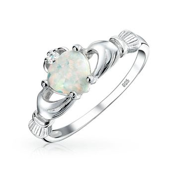 BFF Celtic Irish Friendship Couples White Created Opal Claddagh Ring