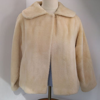 Faux Fur Coat by Malden Heavenly Short swing coat 50s or early 60s Classic Jacket with pockets - Malden company later invented polar fleece