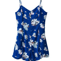 Blue Floral V-Neck Spaghetti Strap Backless Romper