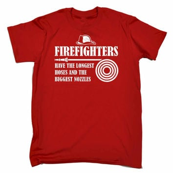 123t USA Men's Firefighters Have The Longest Hoses And The Biggest Nozzles Funny T-Shirt