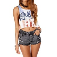 BlueWhiteRed Crop Stars and Stripes Eagle Top